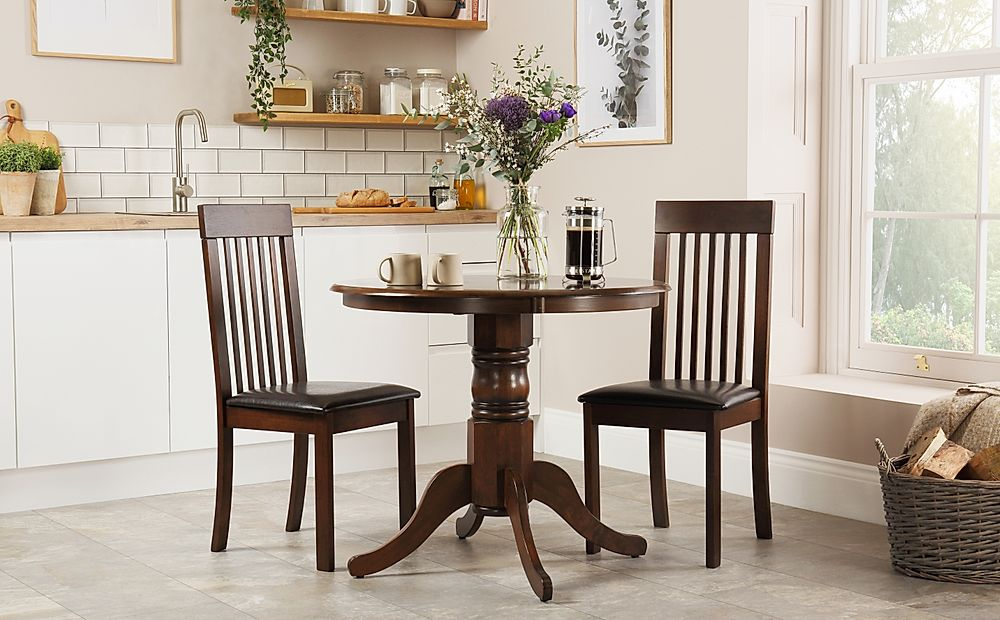 Kingston Round Dark Wood Dining Table with 2 Oxford Chairs (Brown Leather Seat Pads)
