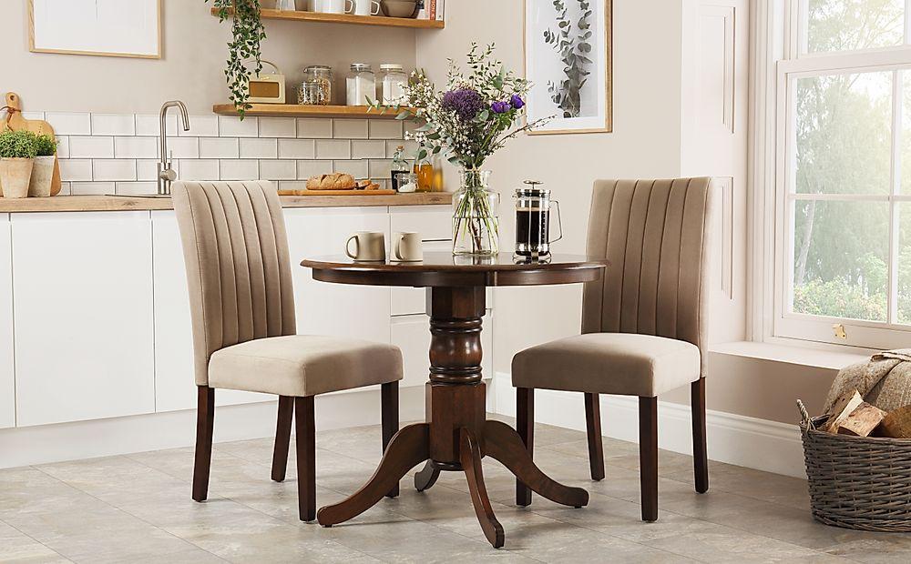 Kingston Round Dark Wood Dining Table with 2 Salisbury Mink Velvet Chairs