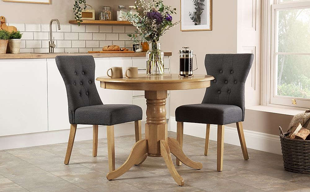 Kingston Round Oak Dining Table with 2 Bewley Slate Fabric Chairs