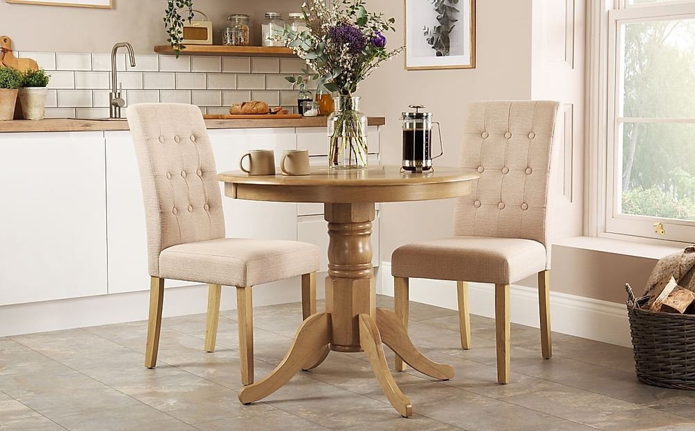 Kingston Round Oak Dining Table with 2 Regent Oatmeal Fabric Chairs