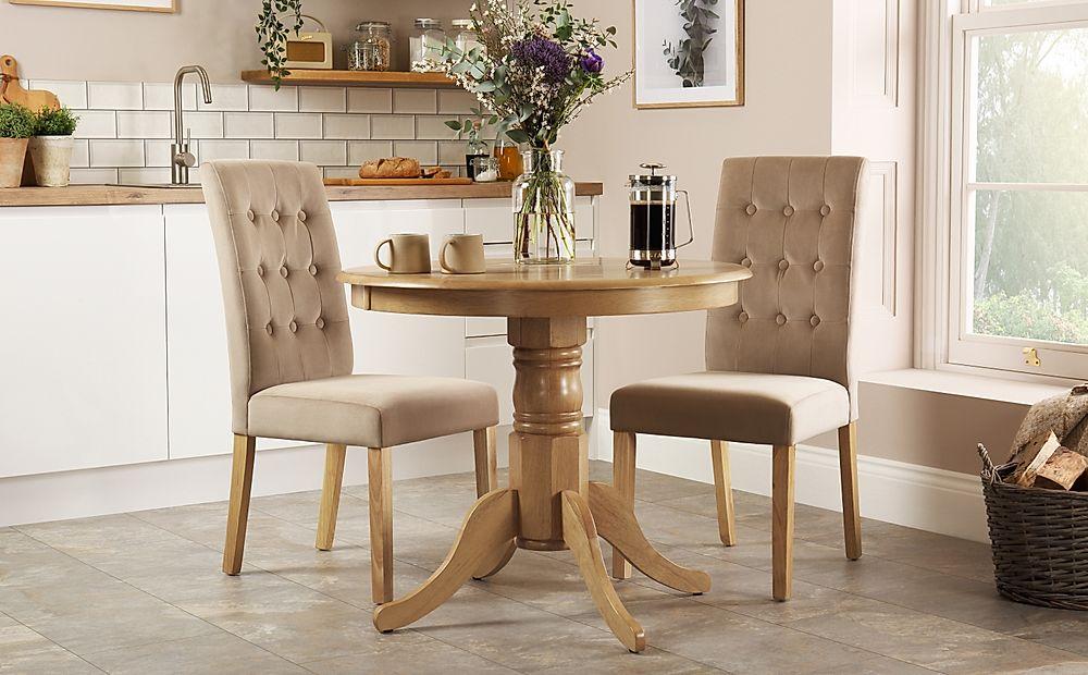 Kingston Round Oak Dining Table with 2 Regent Mink Velvet Chairs