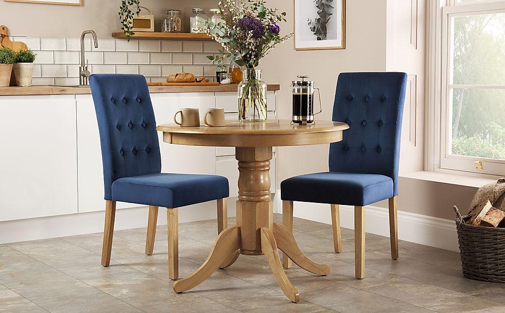 Kingston Round Oak Dining Table with 2 Regent Blue Velvet Chairs