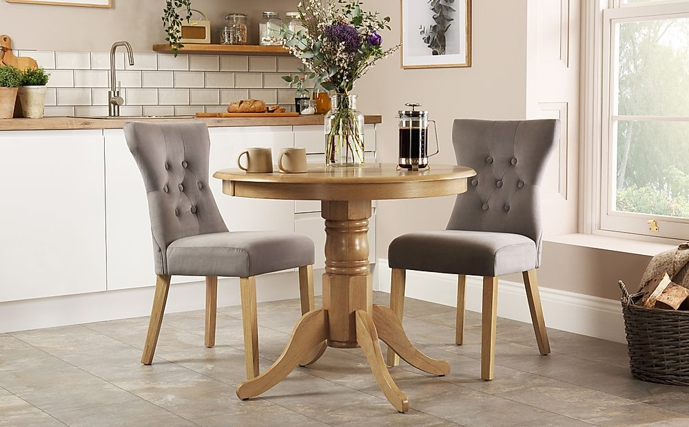 Kingston Round Oak Dining Table with 2 Bewley Grey Velvet Chairs