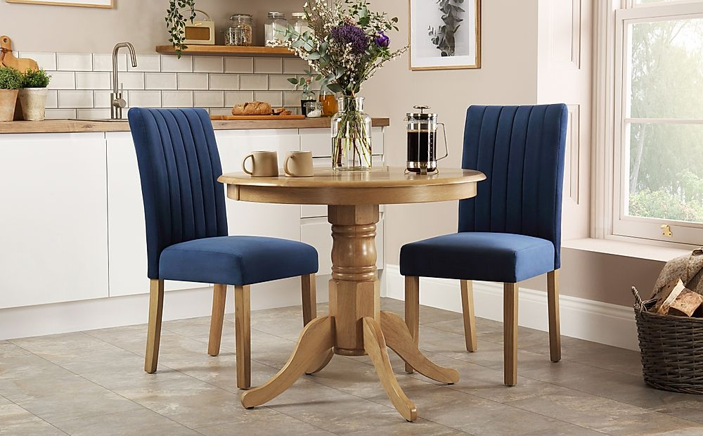 Kingston Round Oak Dining Table With 2 Salisbury Blue Velvet Chairs