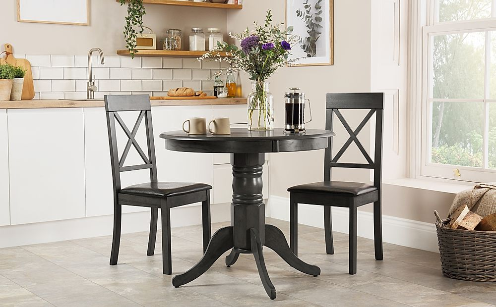 Kingston Round Grey Wood Dining Table with 2 Kendal Chairs (Black Seat Pad)
