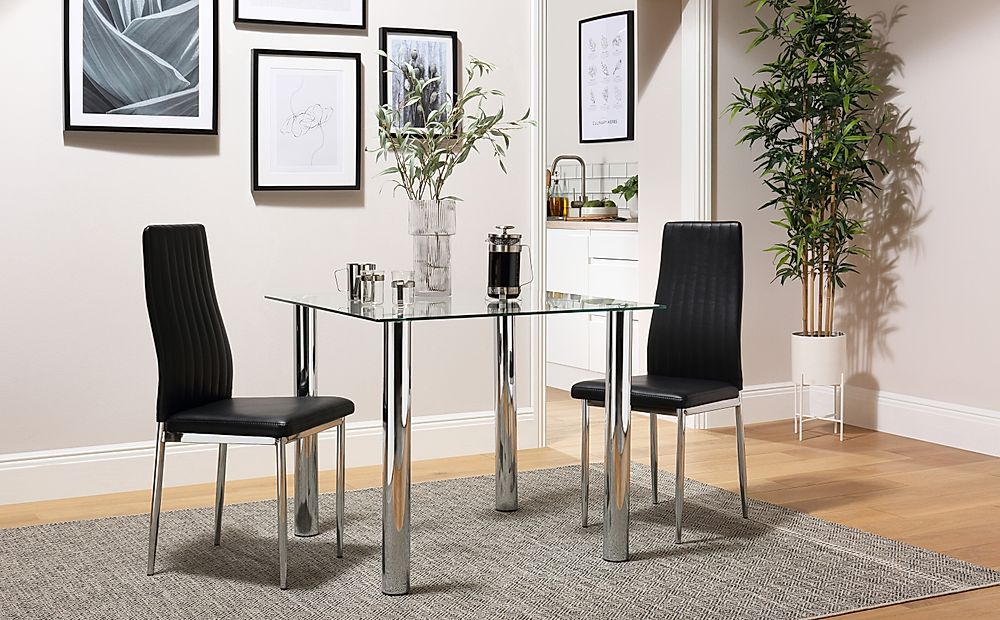 Nova Square Glass and Chrome Dining Table with 2 Leon Black Leather Chairs
