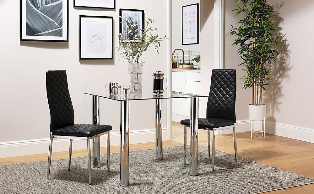 Nova Square Glass and Chrome Dining Table with 2 Renzo Black Leather Chairs