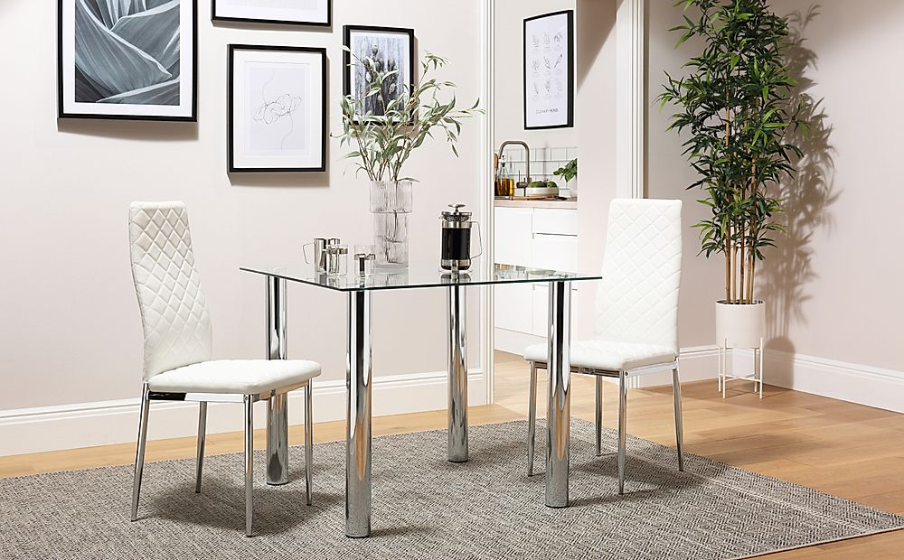 Nova Square Glass and Chrome Dining Table with 2 Renzo White Leather Chairs