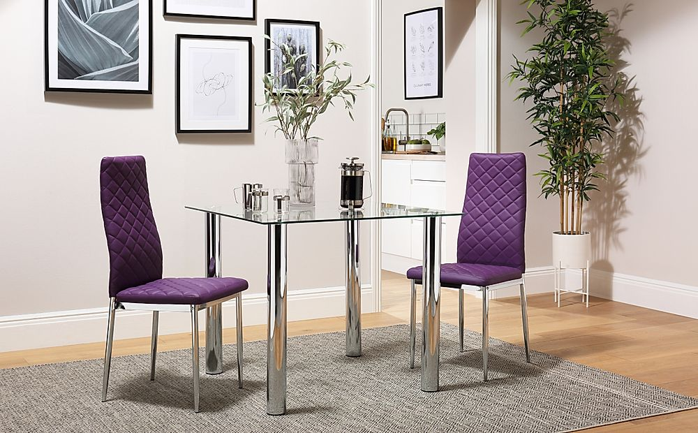 Nova Square Chrome and Glass Dining Table with 2 Renzo Purple Chairs