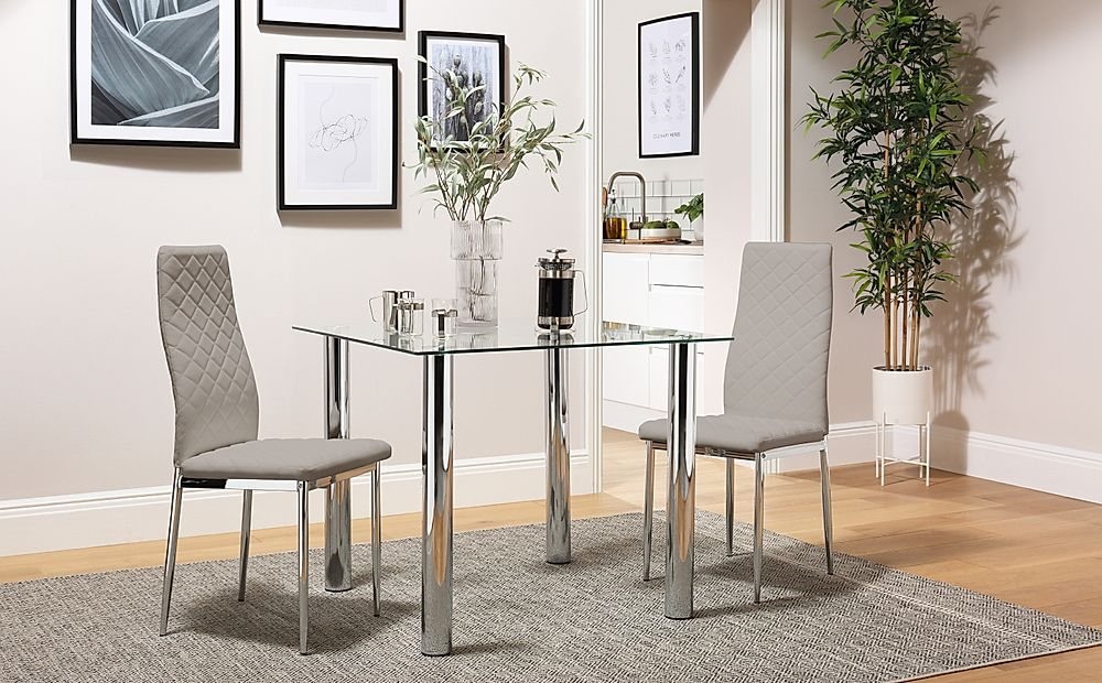 Nova Square Glass and Chrome Dining Table with 2 Renzo Taupe Leather Chairs