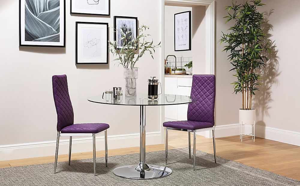Orbit Round Glass & Chrome Dining Table with 2 Renzo Purple Chairs