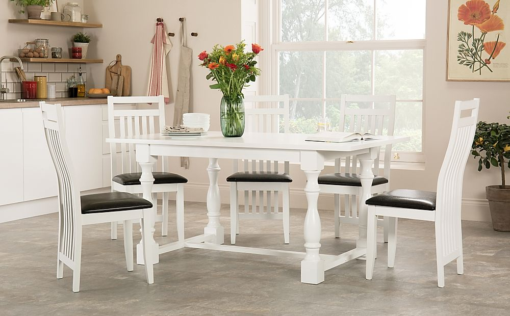 Devonshire White Dining Table with 4 Java Chairs