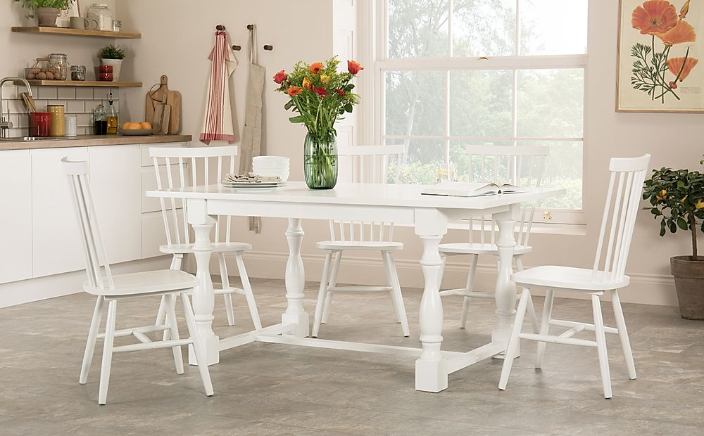 Devonshire White Dining Table with 4 Pendle Chairs