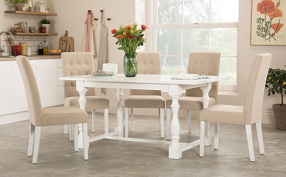 Devonshire White Dining Table with 6 Regent Oatmeal Chairs