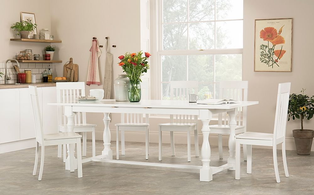 Devonshire White Extending Dining Table with 4 Oxford Chairs
