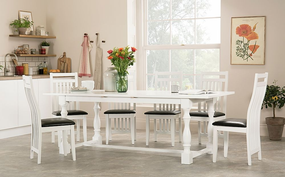 Devonshire White Extending Dining Table with 8 Java Chairs (Black Leather Seat Pad)