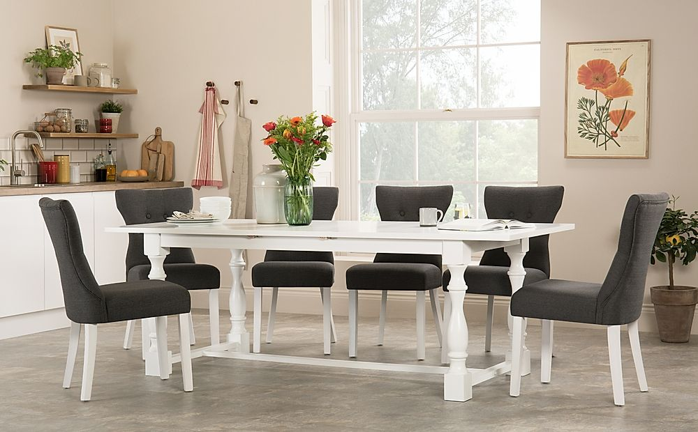 Devonshire White Extending Dining Table with 8 Bewley Slate Fabric Chairs