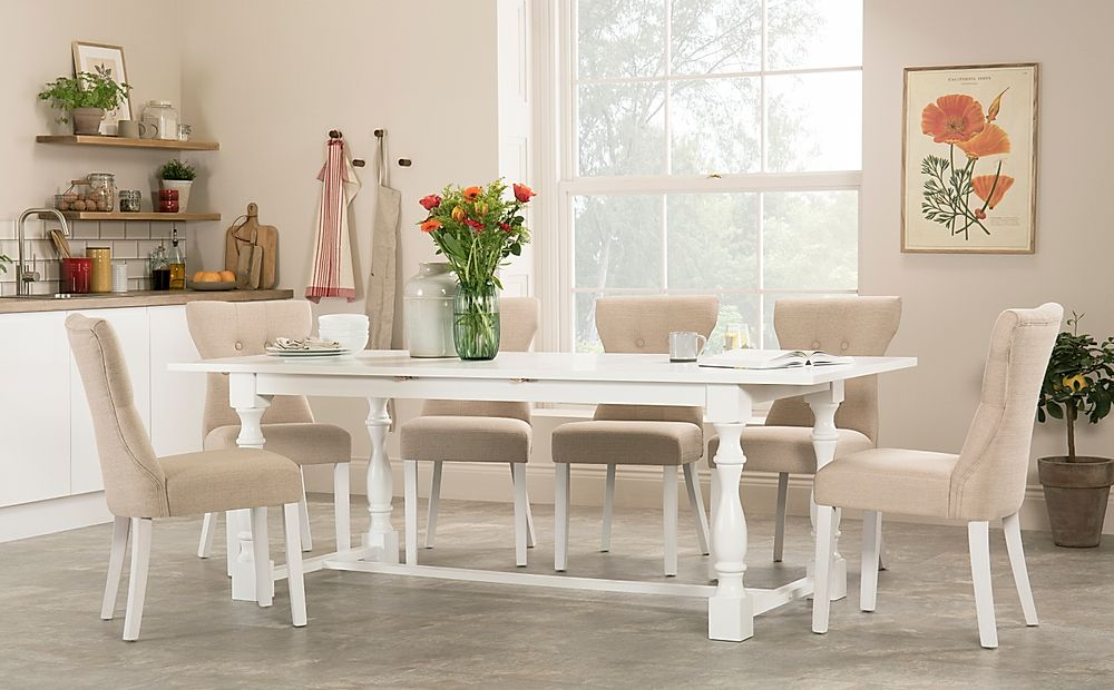 Devonshire White Extending Dining Table with 8 Bewley Oatmeal Fabric Chairs