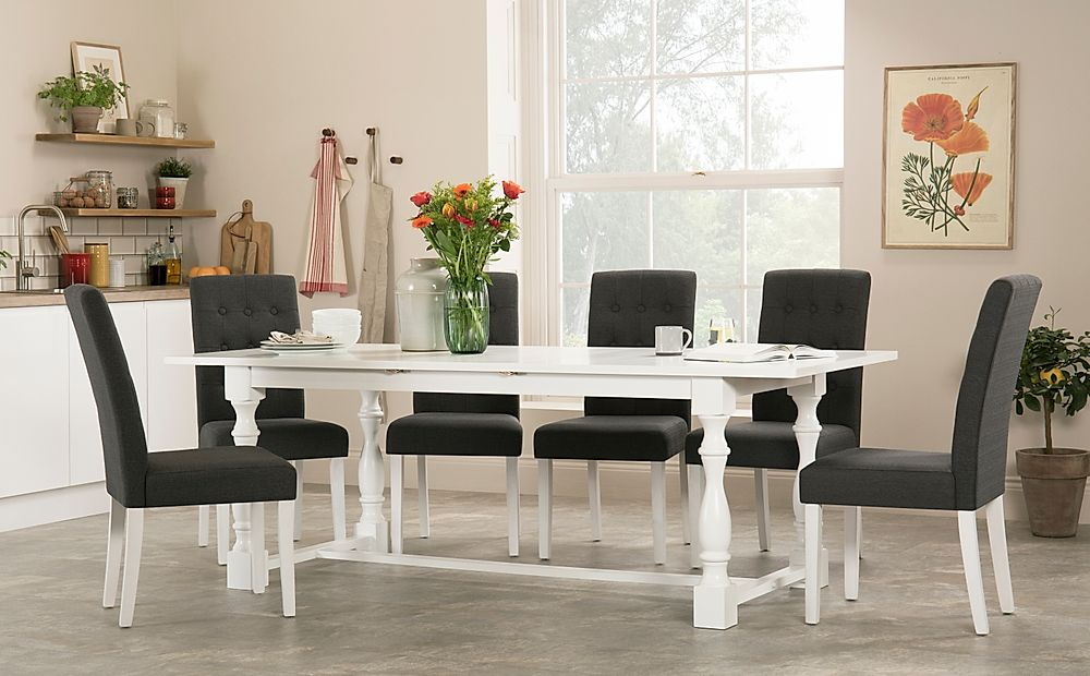 Devonshire White Extending Dining Table with 4 Regent Slate Fabric Chairs