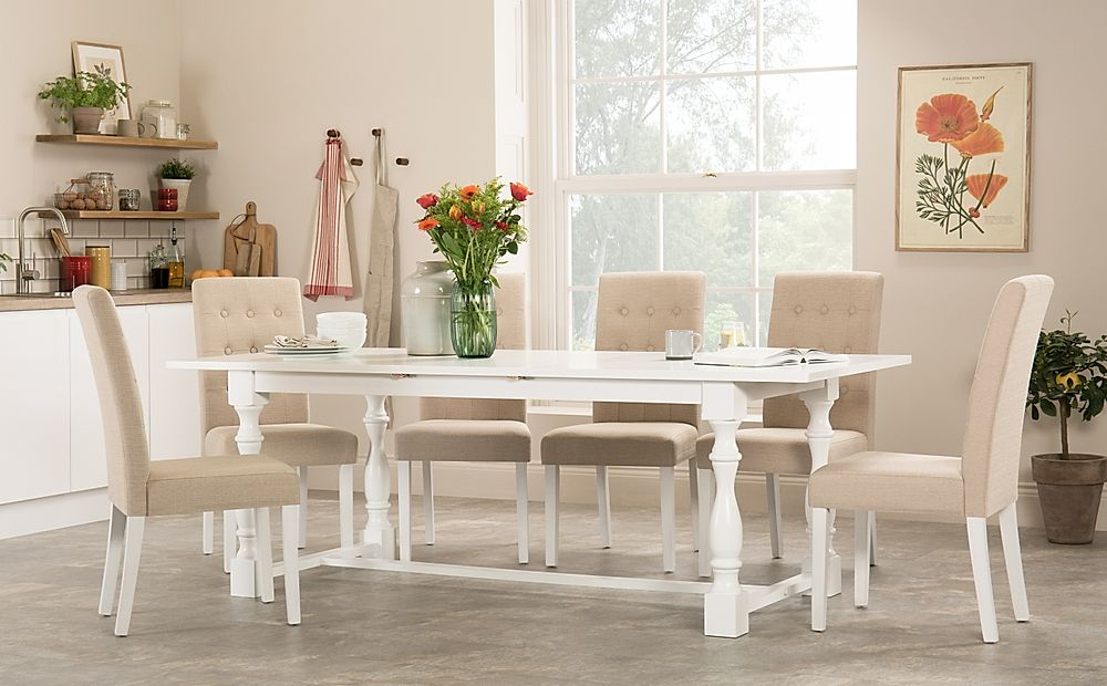 Devonshire White Extending Dining Table with 6 Regent Oatmeal Fabric Chairs