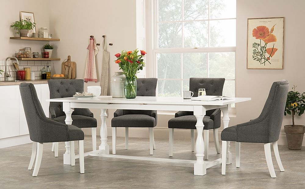 Devonshire White Extending Dining Table with 4 Duke Slate Fabric Chairs