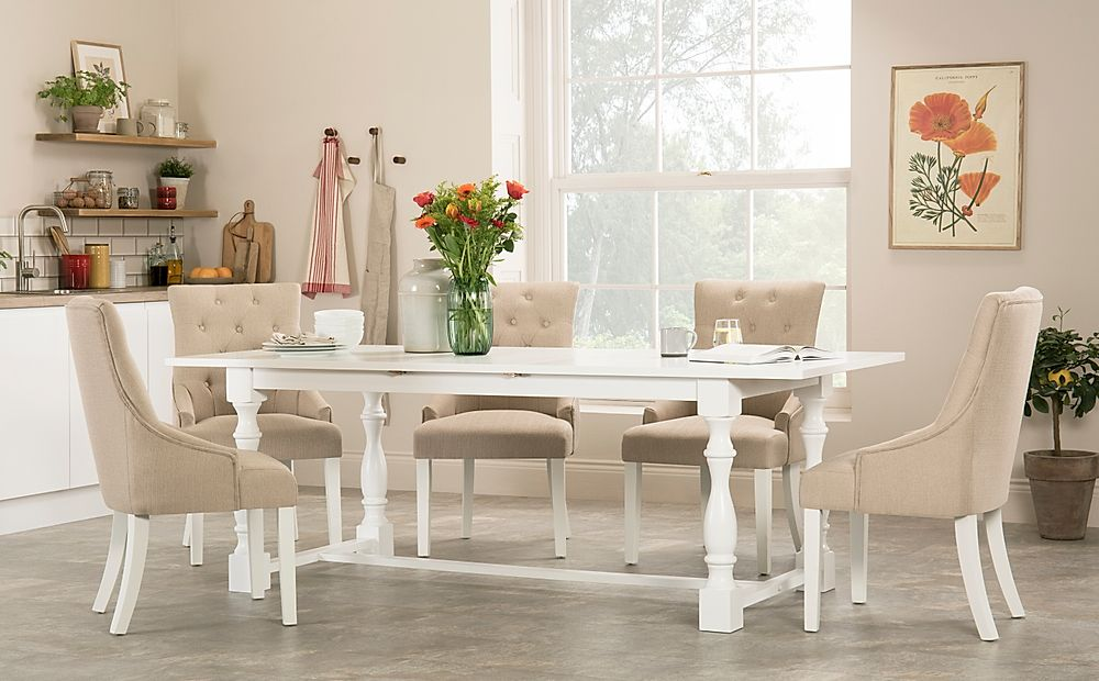 Devonshire White Extending Dining Table with 4 Duke Oatmeal Fabric Chairs