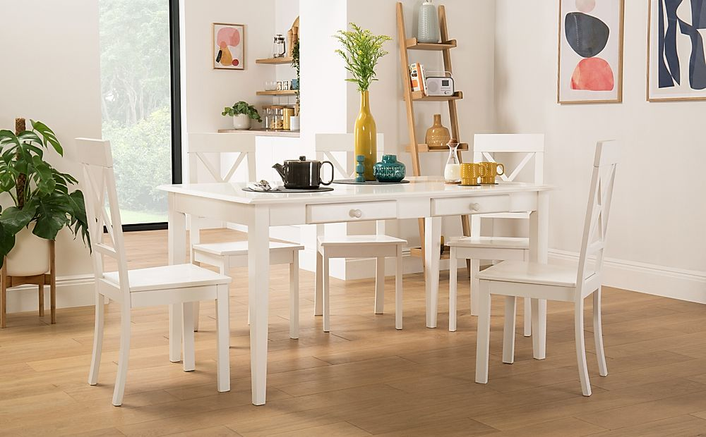 Wiltshire White Dining Table with Storage with 4 Kendal Chairs