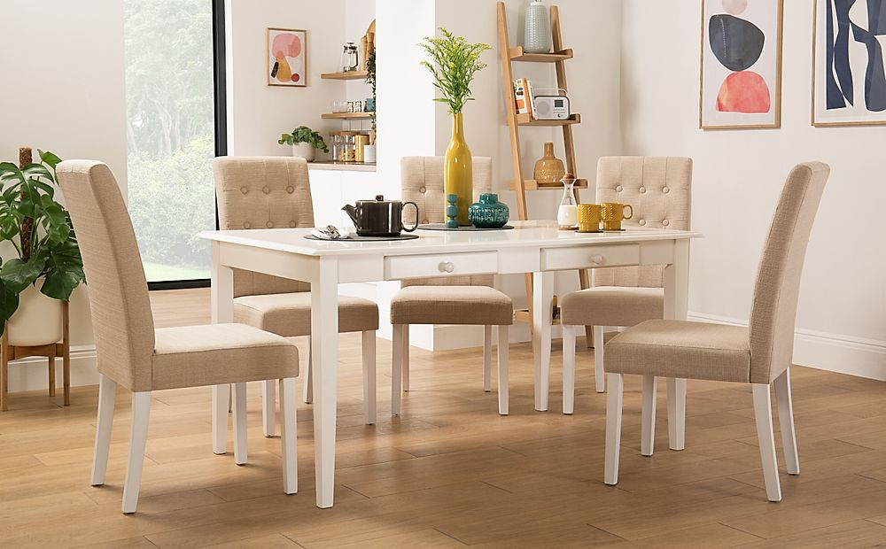 Wiltshire White Dining Table with Storage with 4 Regent Oatmeal Chairs