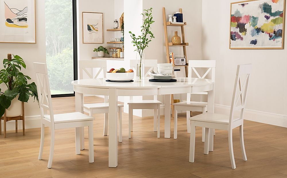 Marlborough Round White Extending Dining Table with 4 Kendal Chairs