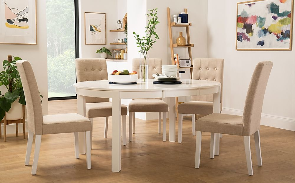 Marlborough Round White Extending Dining Table with 4 Regent Oatmeal Chairs