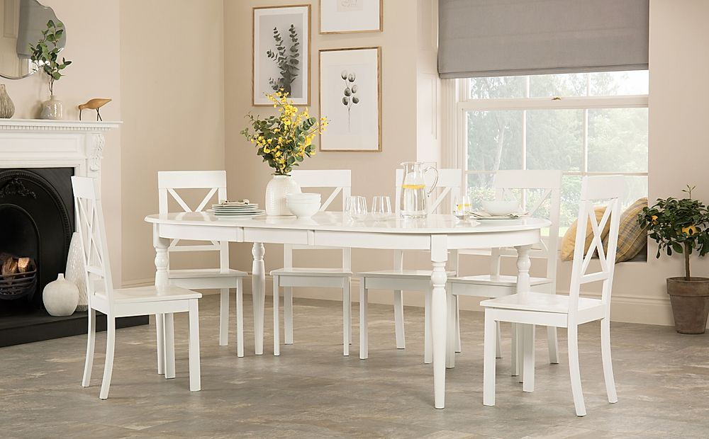 Albany Oval White Extending Dining Table with 8 Kendal Chairs
