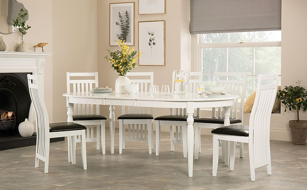 Albany Oval White Extending Dining Table with 6 Java Chairs