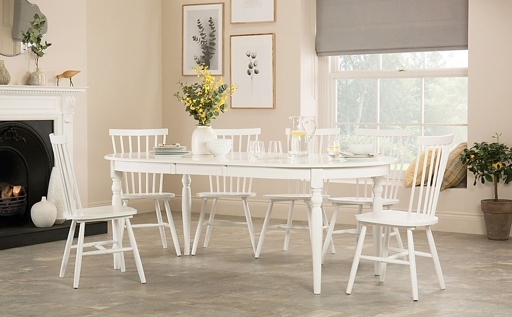 Albany Oval White Extending Dining Table with 6 Pendle Chairs