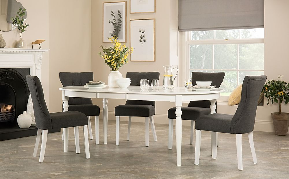 Albany Oval White Extending Dining Table with 8 Bewley Slate Chairs