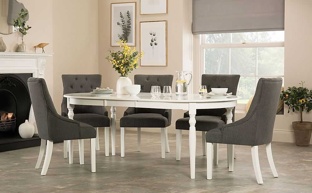 Albany Oval White Extending Dining Table with 6 Duke Slate Chairs