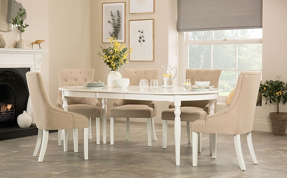 Albany Oval White Extending Dining Table with 8 Duke Oatmeal Chairs