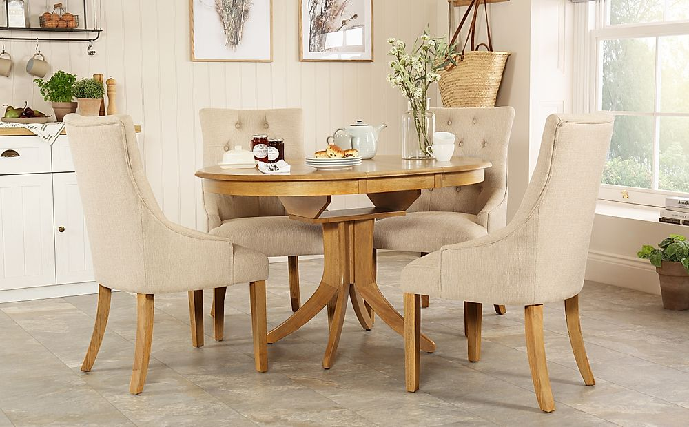 Hudson Round Oak Extending Dining Table with 4 Duke Oatmeal Chairs