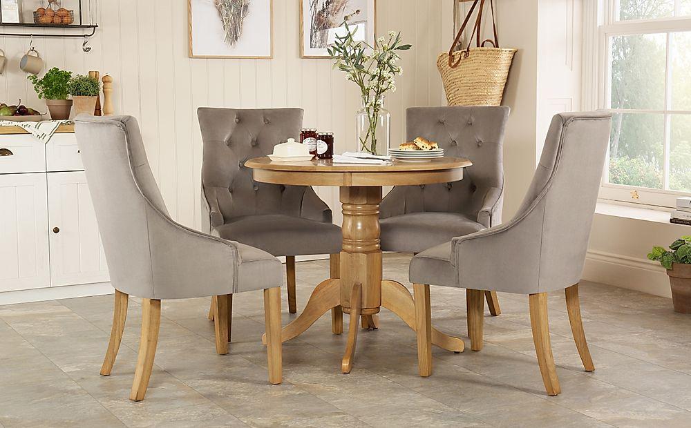 Kingston Round Oak Dining Table with 4 Duke Grey Velvet Chairs
