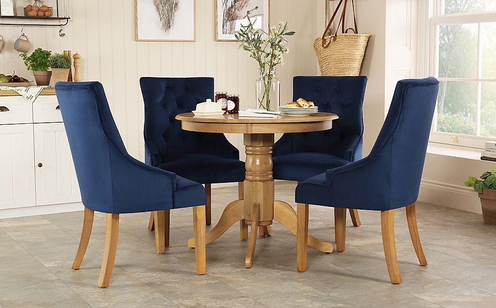 Kingston Round Oak Dining Table with 4 Duke Blue Velvet Chairs