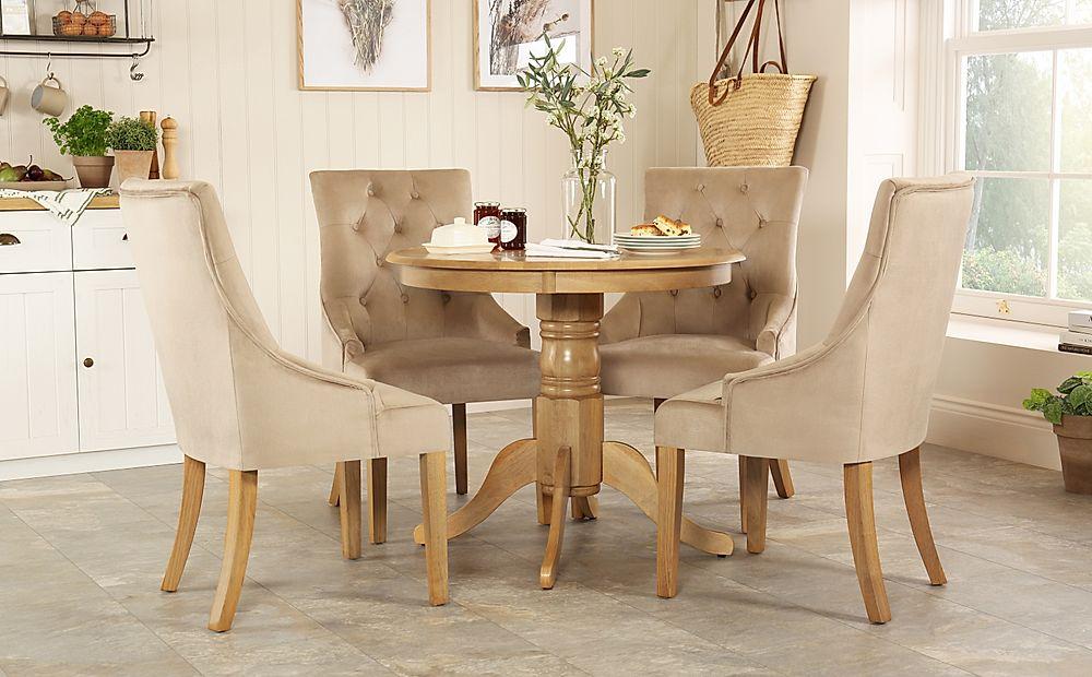 Kingston Round Oak Dining Table with 4 Duke Mink Velvet Chairs