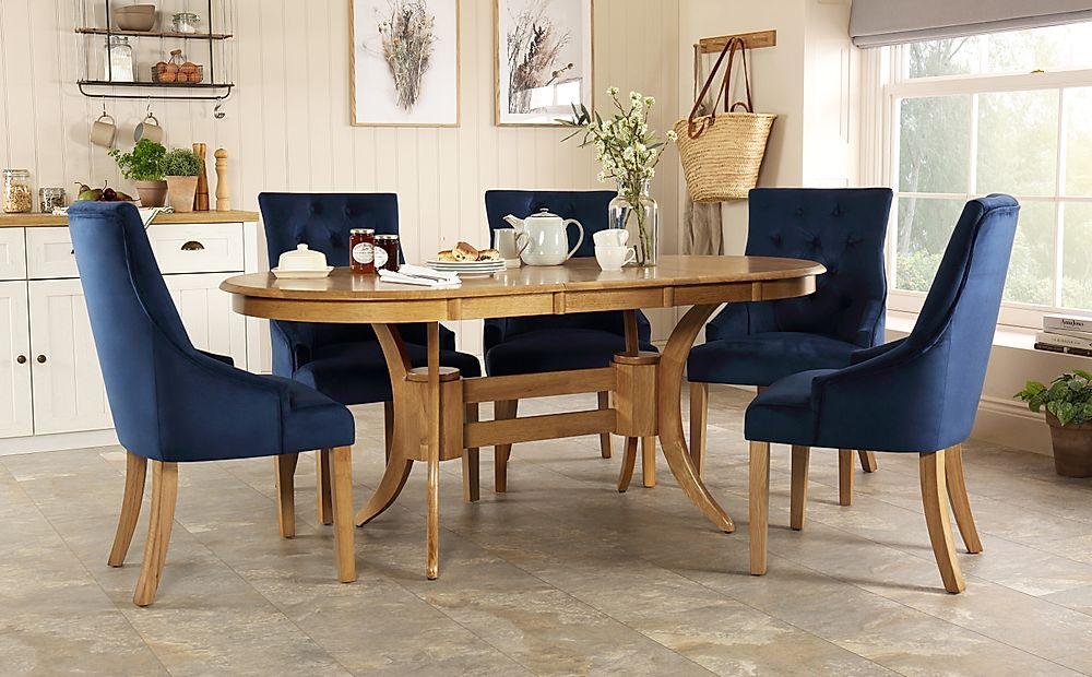 Townhouse Oval Oak Extending Dining Table with 4 Duke Blue Velvet Chairs