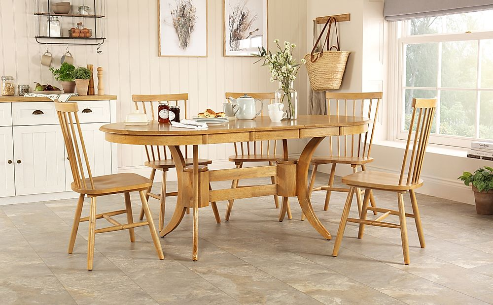 Townhouse Oval Oak Extending Dining Table with 6 Pendle Chairs
