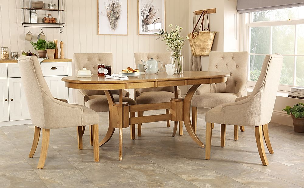 Townhouse Oval Oak Extending Dining Table with 6 Duke Oatmeal Fabric Chairs