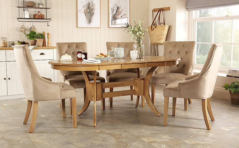 Townhouse Oval Oak Extending Dining Table with 6 Duke Mink Velvet Chairs