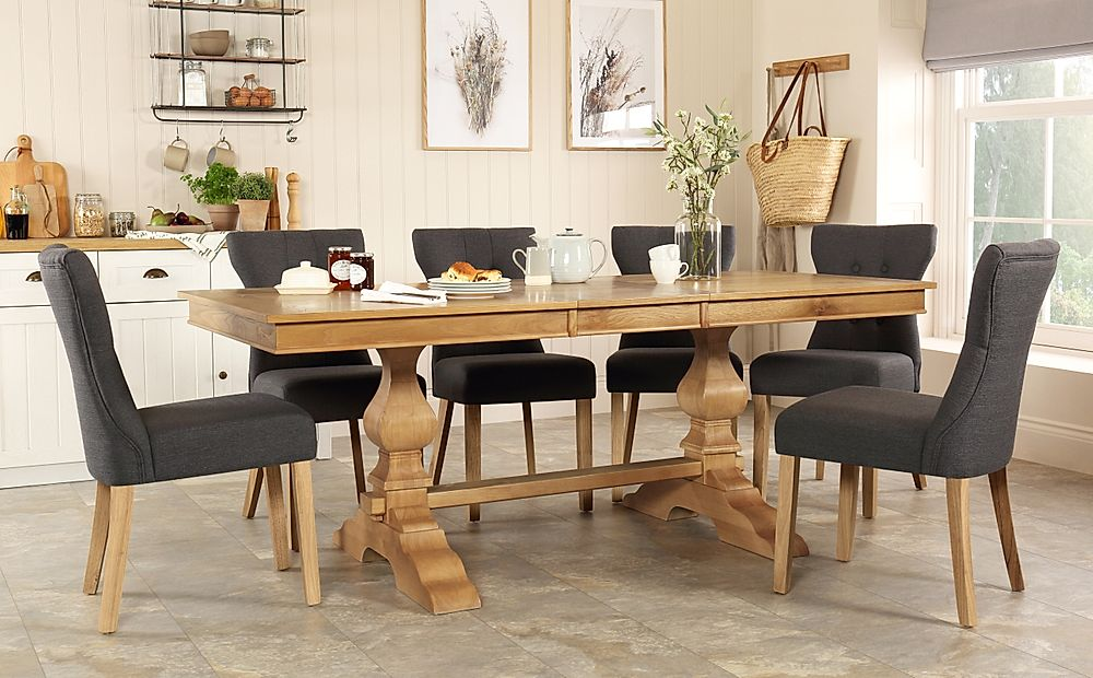 Cavendish Oak Extending Dining Table with 4 Bewley Slate Fabric Chairs