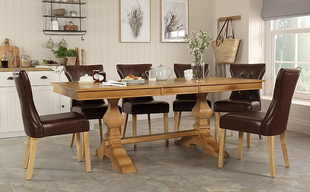 Cavendish Oak Extending Dining Table with 6 Bewley Club Brown Leather Chairs