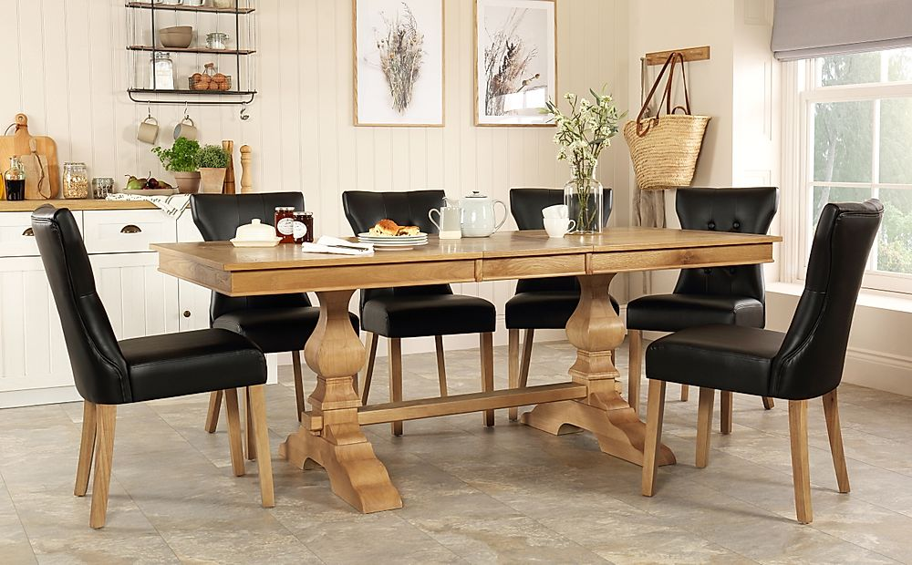 Cavendish Oak Extending Dining Table with 6 Bewley Black Leather Chairs