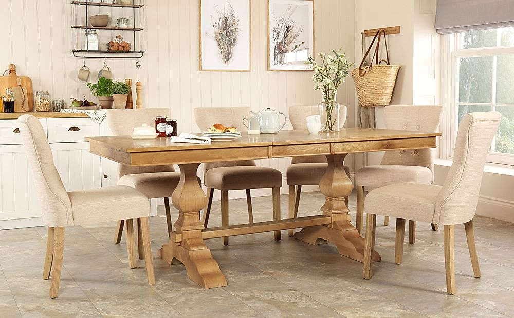 Cavendish Oak Extending Dining Table with 6 Bewley Oatmeal Fabric Chairs