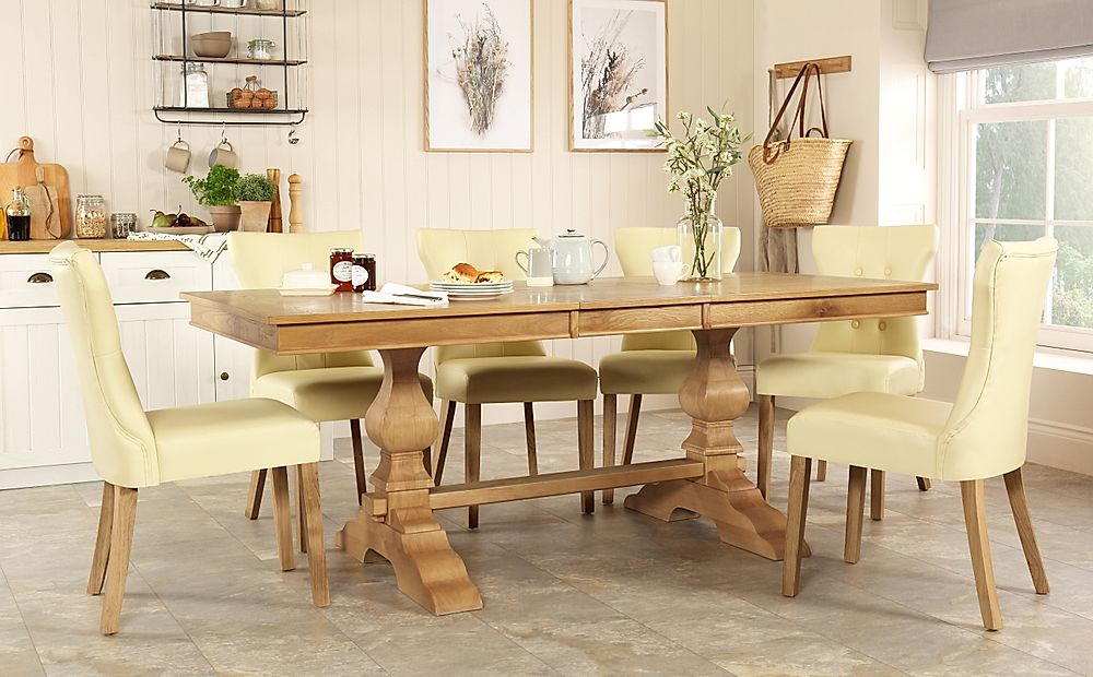 Cavendish Oak Extending Dining Table with 8 Bewley Ivory Leather Chairs