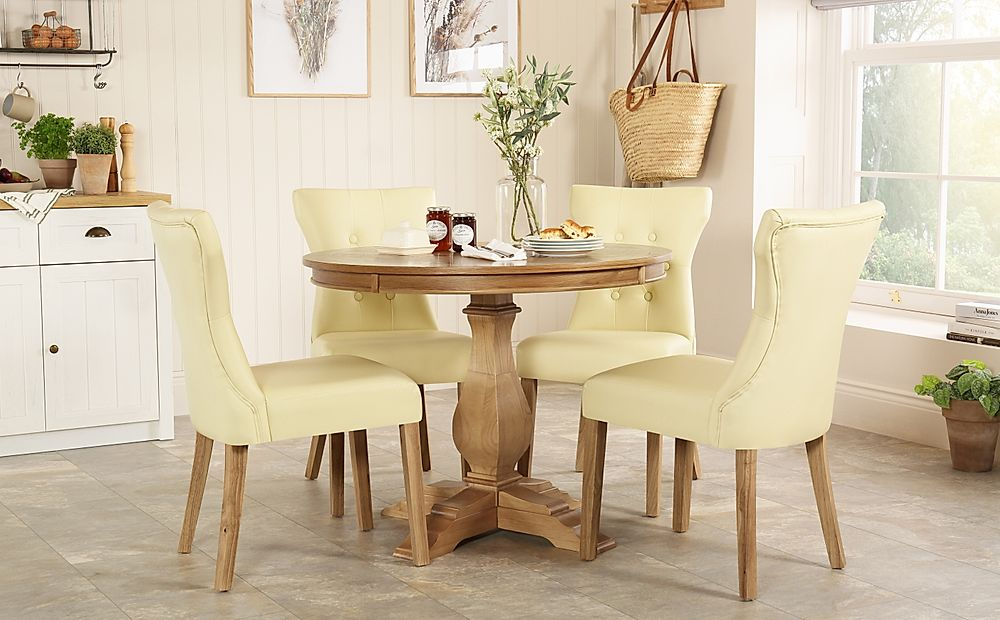 Cavendish Round Oak Dining Table with 4 Bewley Ivory Chairs
